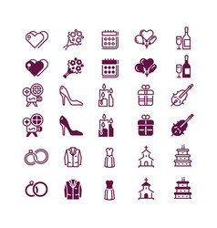 love and wedding icons isolated on white vector image