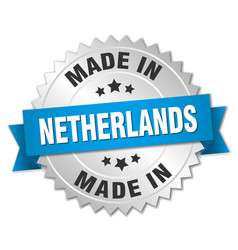 Made in netherlands silver badge with blue ribbon vector