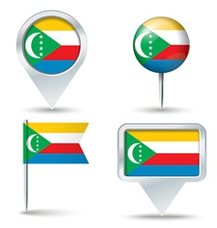 Map pins with flag of Comoros vector