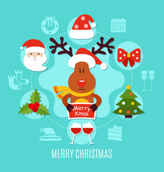 merry xmas round composition vector image