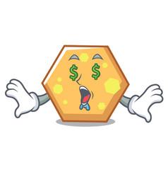 money eye hexagon mascot cartoon style vector image