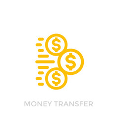 Money transfer icon on white vector