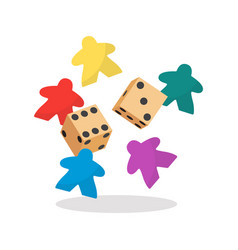 Multicolor meeple and dice vector