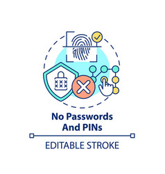 no passwords and pins concept icon vector image