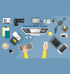 office equipment icons flat design style vector image