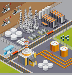 oil industry isometric composition vector image