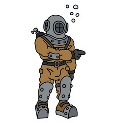 old diver in a deep snuffer vector image