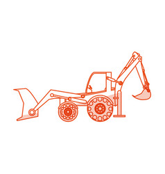 Orange silhouette shading industrial machine vector
