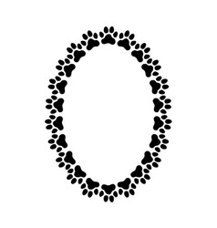 oval frame made paw prints vector image
