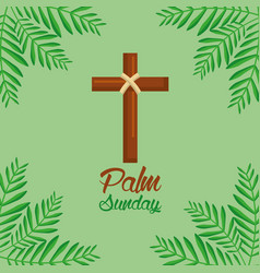 palm sunday cross and frond green background vector image
