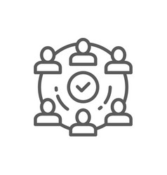 People team in project line icon vector
