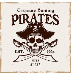 pirates emblem with skull in hat and two vector image