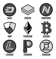premium cripto currency logos set vector image