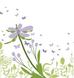 purple floral silhouette vector image