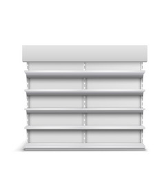 rack with empty shelves realistic mockup vector image