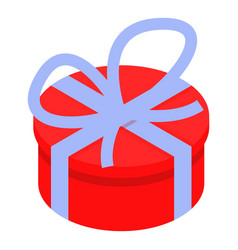 round gift box icon isometric style vector image