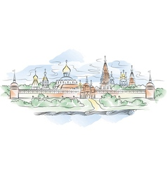 Russian monastery and river vector