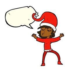 Santas helper cartoon with speech bubble vector