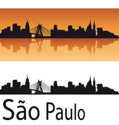 Sao Paulo skyline in orange background vector image