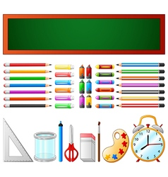 School supplies and chalkboard vector