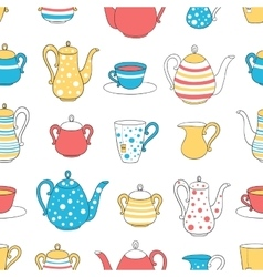 Seamless pattern tea ware vector