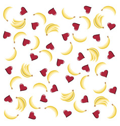 Seamless pattern with hearts and bananas vector