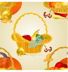 Seamless texture fruit in a wicker basket vector