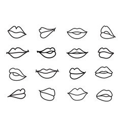 set lips linear sketch vector image