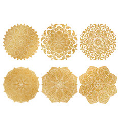 Set of 6 hand-drawn gold arabic mandala on white vector