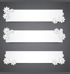 set of banners with white flowerspraznichnye vector image
