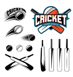 Set of cricket sports template logo elements vector image