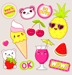 Set of cute summer stickers in kawaii style vector