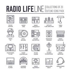 set radio life sound devices thin line icons vector image