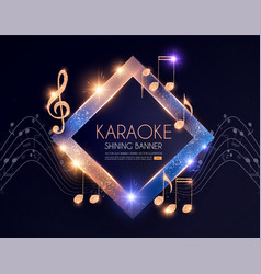 Shining karaoke party banner with golden notes vector