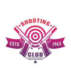 Shooting club logo emblem badge with two pistols vector