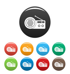 speaker radio icons set color vector image
