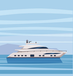 speed reach yacht on seascape background cartoon vector image