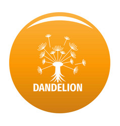 Spring dandelion logo icon orange vector