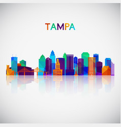 tampa skyline silhouette in colorful geometric vector image