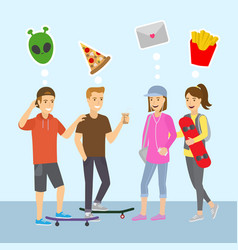 teenagers boys and girls think and dreams flat vector image