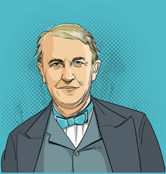 thomas edison portrait in line art vector image