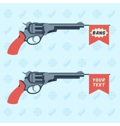 Toy guns with BANG and empty flags vector