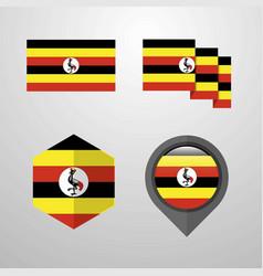 uganda flag design set vector image