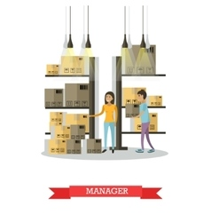Warehouse female manager comic character vector