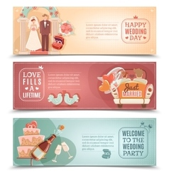 Wedding concept flat banners set vector