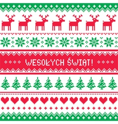 Wesolych Swiat card - scandynavian pattern vector image