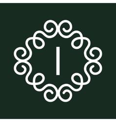 White Vintage Twirl Frame for I Letter vector image