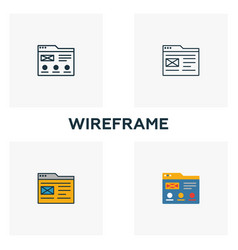 Wireframe icon set four elements in different vector