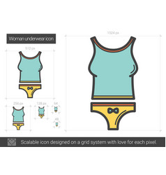 Woman underwear line icon vector