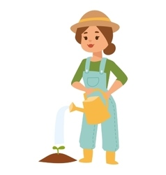 Woman with watering can vector